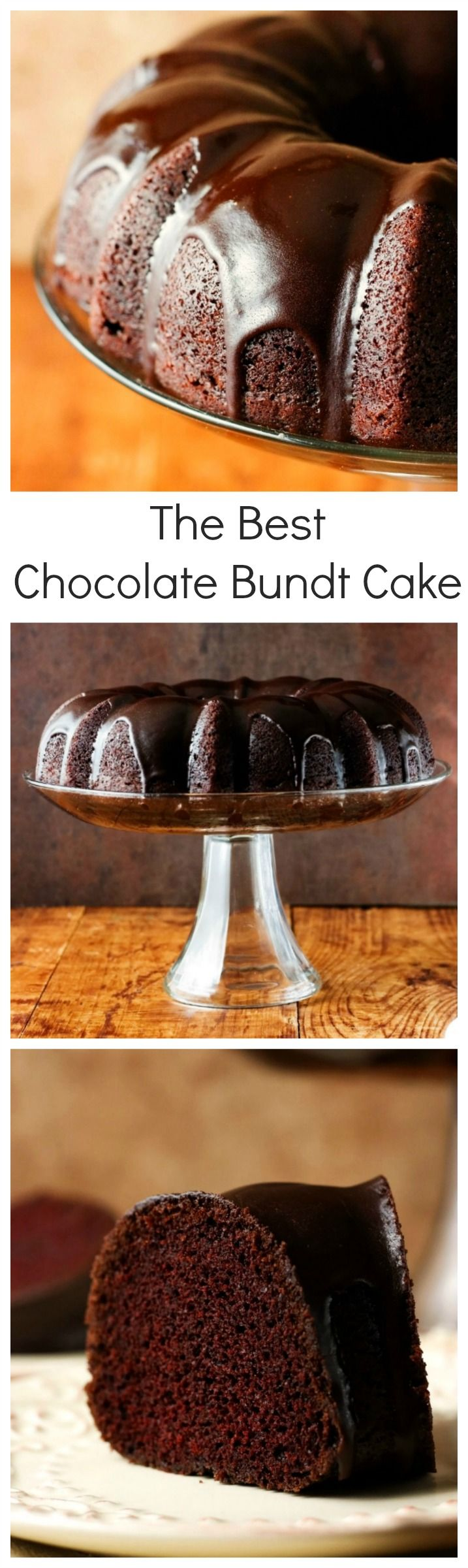 The Best Chocolate Bundt Cake - absolutely perfect chocolate bundt cake with an easy chocolate glaze! You will love this one-bowl recipe that does not require eggs for the batter and mixer to make it!