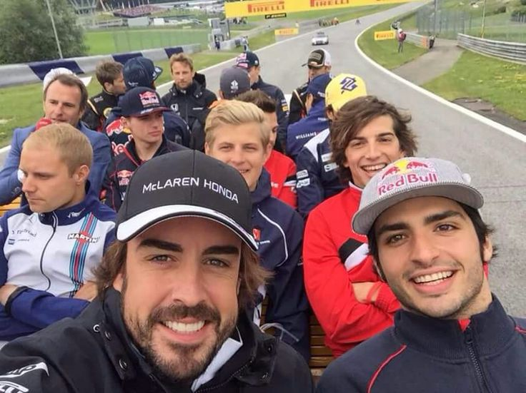 Drivers parade Austrian GP 21-6-2015. Handsome fellows! Billy looks bored of it though, and Max brought his dad along. It is Father's Day, after all!