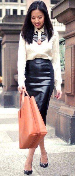 Кожаные юбки карандаш и сочетания с ними