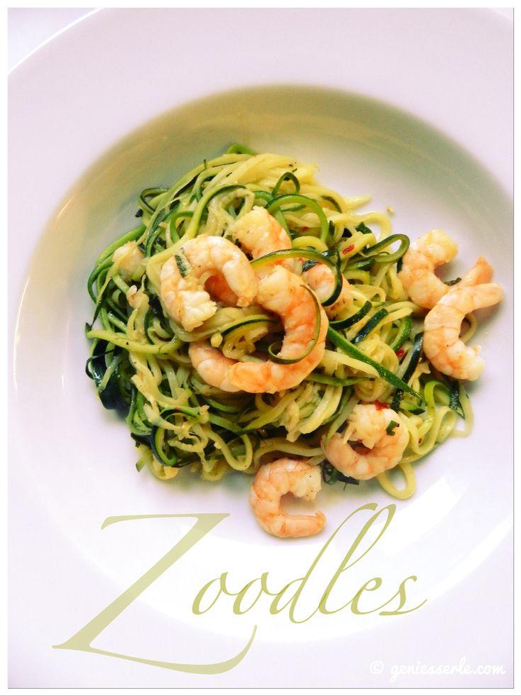 Zucchini-Nudeln mit Garnelen | Zoodles. Pasta mal anders.