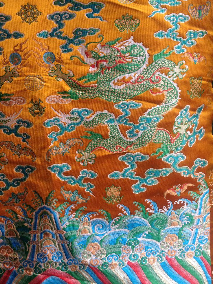 2 metres long chinese Dragon robe silk brocade fabric Chinoiserie decor !NEW!