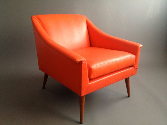 Gorgeous Vintage Pop Orange Lounge Chair Adrian By InteriorContent, $695.00