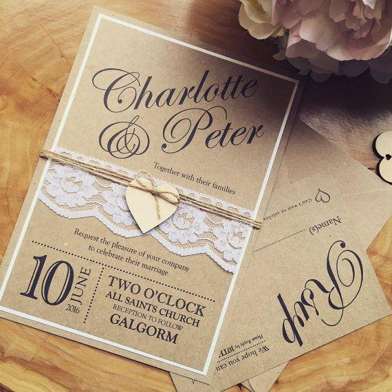 Handmade Wedding Invitation Rustic Wedding By SKWeddingStationery
