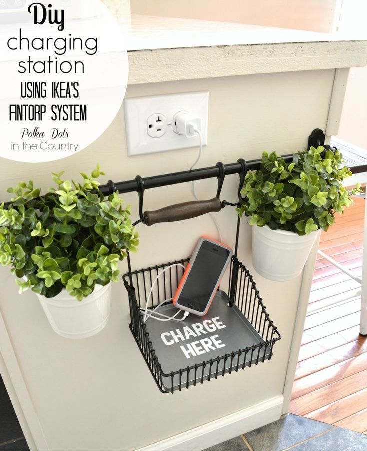DIY Charging station using Ikea's Fintorp System- Polka Dots in the Country. Ikea hack. DIY charging station