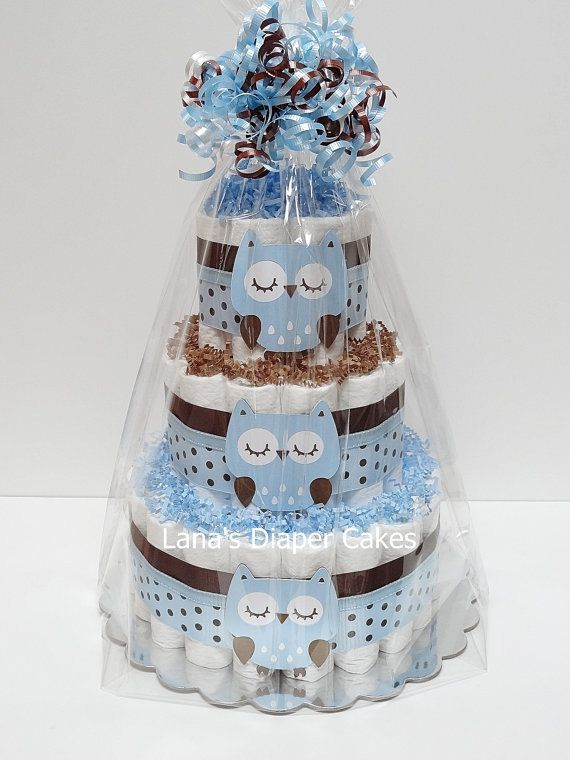 Blue And Brown Owl Diaper Cake Baby Shower by LanasDiaperCakeShop