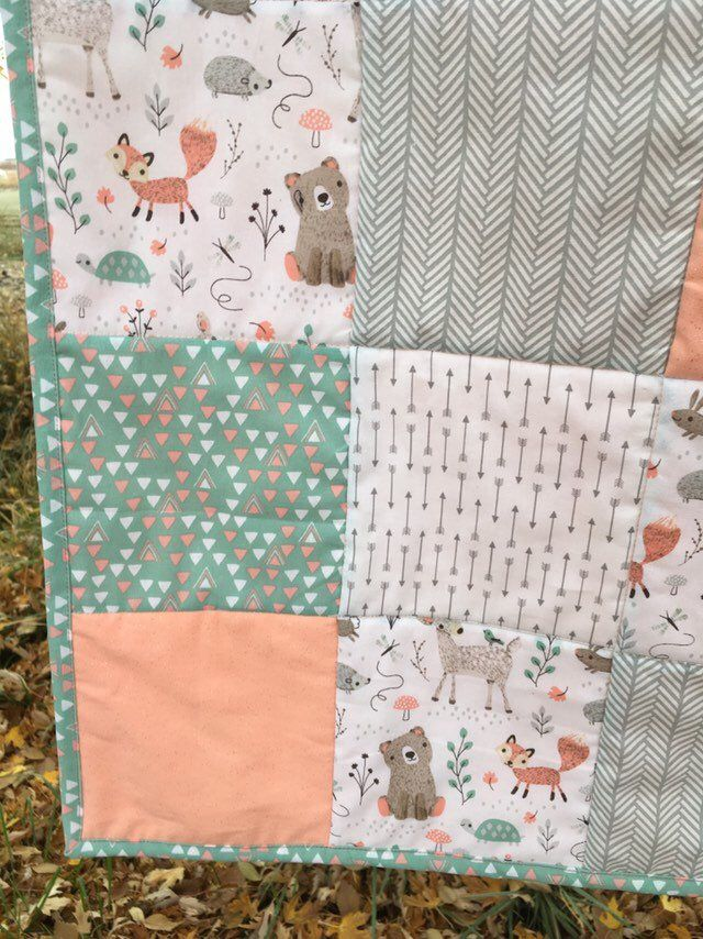 Nursery Baby girl quilt woodland animals machine quilted baby blanket