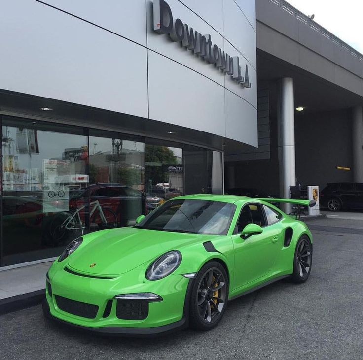 Another shot of one of the first known PTS Gelbgrün (Green Yellow UNI; 137) 991 GT3 RS from Porsche of Downtown L.A. in California. Really loving this one. In response to many inquiries as well this is a sold vehicle. : @1lovelylauren | Follow @ptsrs and join the #PTSRS movement for the latest on the newest #painttosample Porsche 991 GT3 RS's and soon 911 R's. by ptsrs