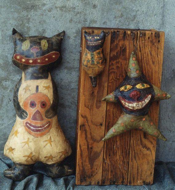 Primitive Halloween Pattern EPattern Black Cats by hicketypickety
