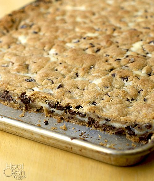 Cheesecake Chocolate Chip Cookie Bars by Heat Oven to 350