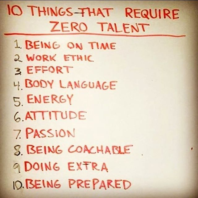 All of your talent is wasted without good attitude and work ethic. Commit to these 10 habits that require no talent at all. You will multiply your results and earn the respect of your coach.