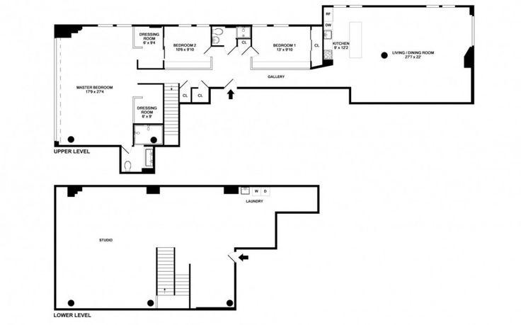 Loft: Two Floor Loft Idea with Three Bedroom in West Village New York City, Two Floor Loft Floor Plan Design in West Village Manhattan with Three Bedroom