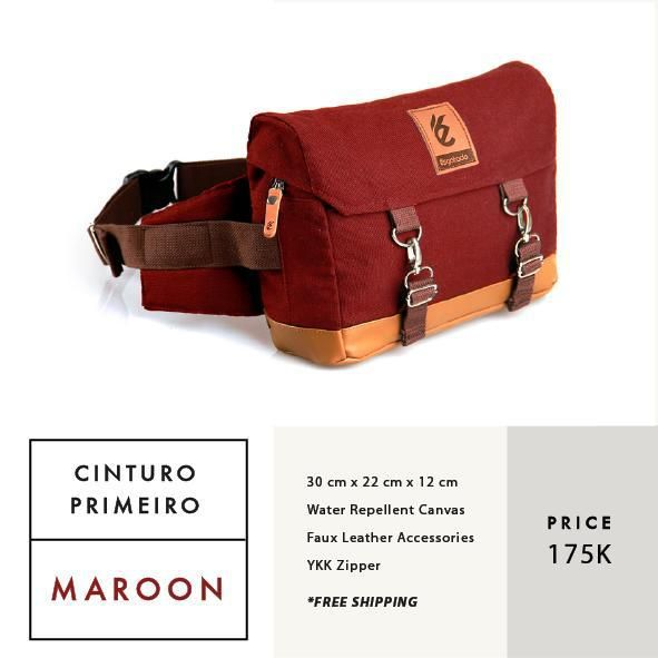 CINTURO PRIMEIRO MAROON  IDR 175.000  FREE SHIPPING ALL OVER INDONESIA    Dimension: 30 cm x 22 cm x 12 cm 8 Litre   Material: High Quality Canvas WR Faux Leather Accessories Leather Accessories YKK Zipper  #GoodChoiceforGoodLooking