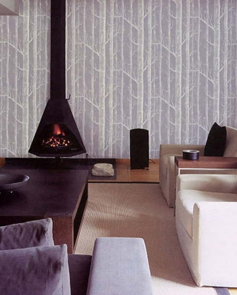 birch wallpaper, gorgeous fireplace.