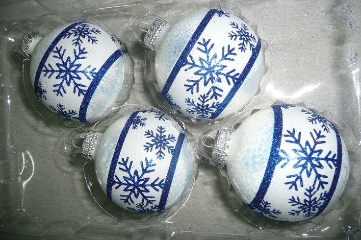 Christbaumkugel Weihnachtskugel Christbaumschmuck Glas Krebs weiß blau frost