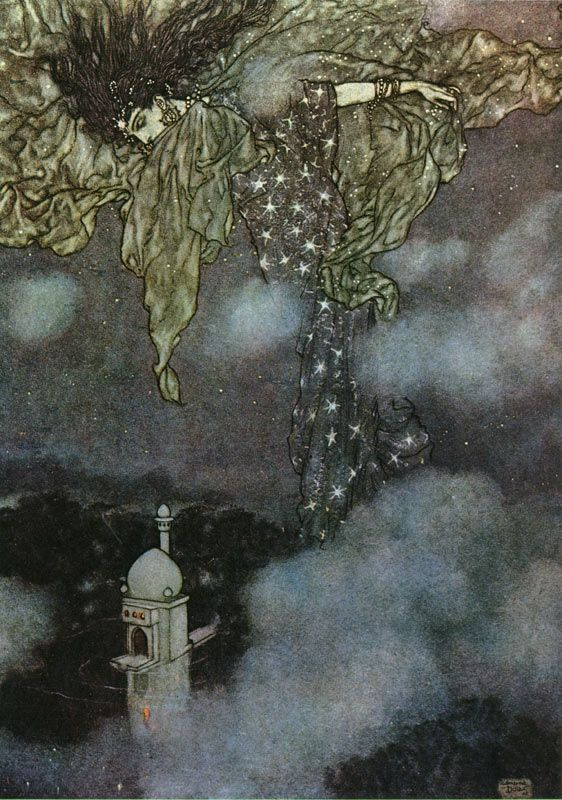 "Illustration by Edmund Dulac from ""Rubaiyat of Omar Khayyam."" ""...And hidden by the sleeve of Night and Morn."""