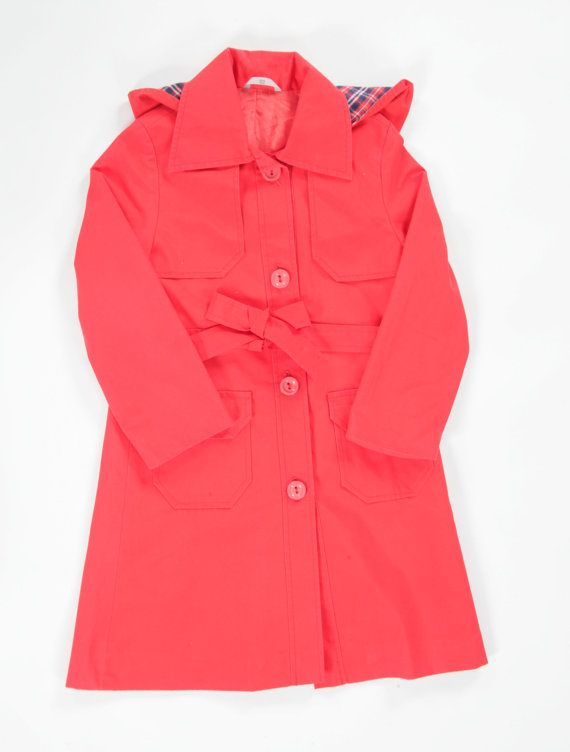 Girls vintage hooded trench coat. age 67 by PeachandLoveVintage, £45.00