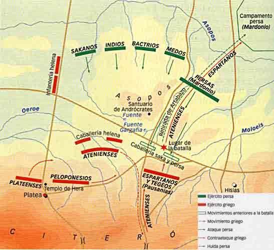 Mapa de la Batalla de Platea, victoria griega contra Persia, 479