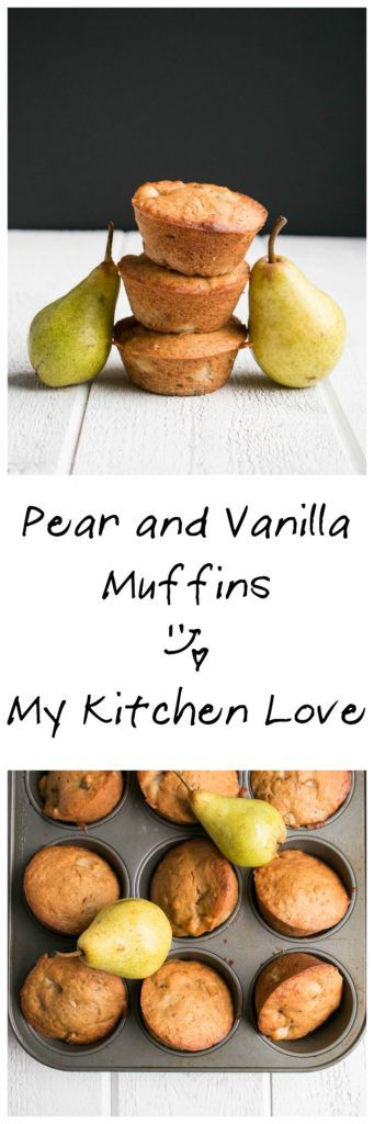 Pear and Vanilla Muffins | My Kitchen Love. Perfect for Fall snacks and breakfast on the go, these muffins are sweetened with mostly fruit puree.