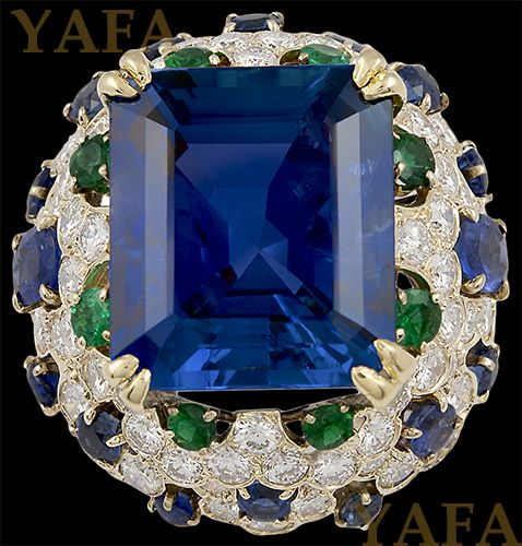 VAN CLEEF & ARPELS Sapphire, Emerald and Diamond Ring - Yafa Jewelry