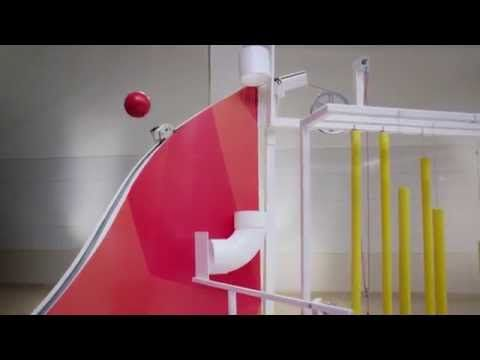 3M's Impressive, Science-y Rube Goldberg Machine:  I love how the ball floats on a column of air in the beginning, and how the square sign rolls down round rolls of tape.  All products shown made by 3M I'm assuming  //