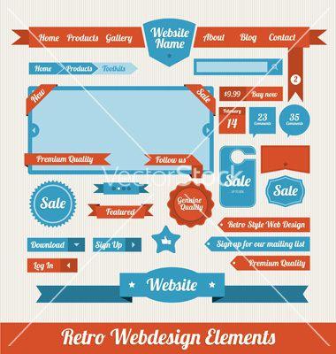 Retro web design elements vector 818533 - by medveh on VectorStock®