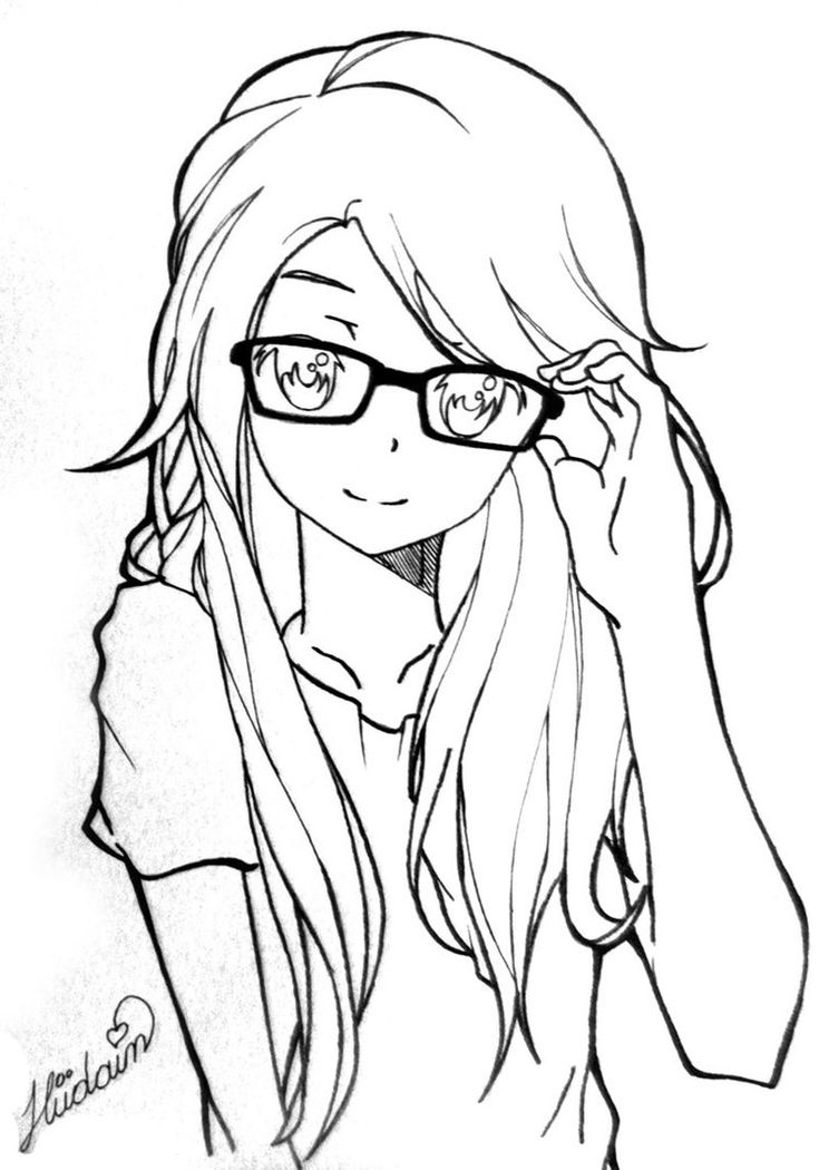 Line Art Drawing Tutorial : Anime girl by hudaim on deviantart my works