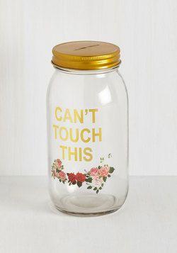De-light Savings Bank. Your rainy day fund looks super fab inside of this glass savings jar! #multi #modcloth