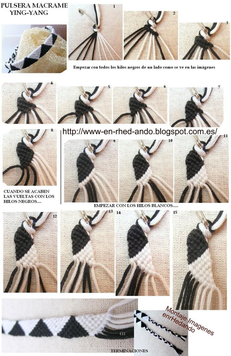 Make-up❤️ Instructions with pictures for a triangle pattern - Knüpfen, Knoten, Makramee - Chicken Sandwich Diy Jewelry Projects, Diy Projects To Try, Jewelry Crafts, Handmade Jewelry, Diy Friendship Bracelets Patterns, Bracelet Crafts, Triangle Pattern, Macrame Knots, Macrame Bag