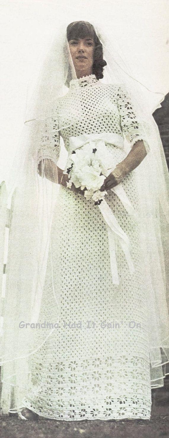 Crochet Wedding Dress Pattern Romantic by GrandmaHadItGoinOn