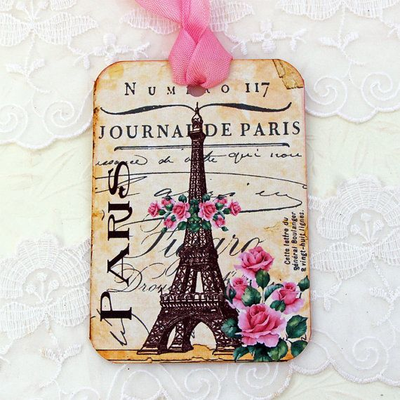 Tags Eiffel Tower Journal  Bridal Shower by EnchantedQuilling