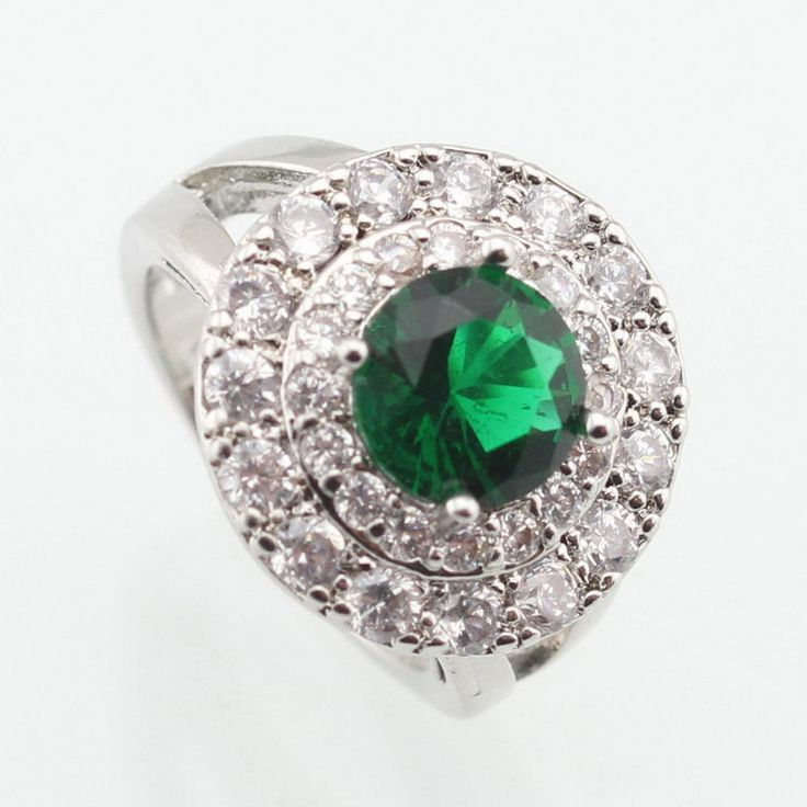 ASHLEY Green Created Emerald White Stone Round Silver Plated Ring For Women Elegant Crystal Jewelry Size 6 7 8 9  Free Gift Box