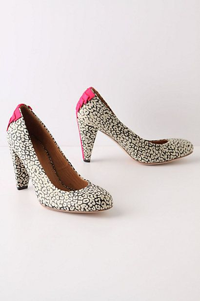 Amur Heels from Anthropologie: Anthropology With, Fun Shoes, Amur Heels, Black And White, Black White, Hot Pink, Leopards Prints, Pink Accent, Heels Anthropologie