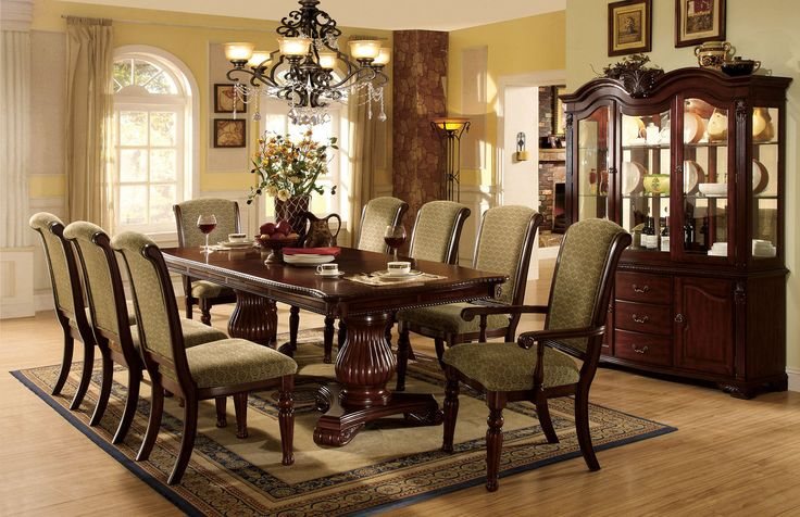 Dining table with 6 chairs majesta ii collection cm3561t for Most beautiful dining room tables
