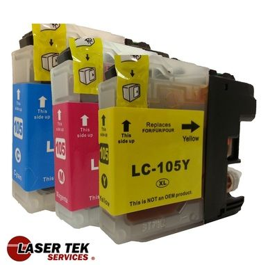 Most affordable price here! Guaranteed High-Quality Brother LC105 3-set Compatible super high yield ink cartridges: 1C, 1M, 1Y.  For only $6.99. Call us now.
