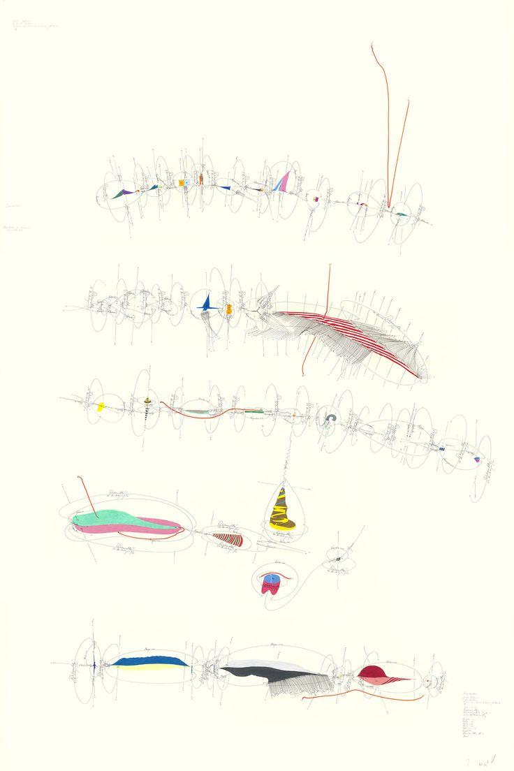 WV 2013-156 Sinnüberschuss (Niklas Luhmann/ Liebe als Passion/ Evolution von Kommunikationsmöglichkeiten (X)); ; Matrix 1-106; Rotationsrichtung; Rotationsgeschwindigkeit; 1- 51 Umdrehungen/ Tag; Vorgestern → ∞; Gestern → ∞; Heute → ∞; Morgen → ∞; Übermorgen → ∞; Egomotion; Himmelsrichtung N-S; Now; Jorinde Voigt/ Berlin 2013; 210 x 140 cm; Tinte, Ölkreide, Bleistift auf Papier; Unikat; Signiert