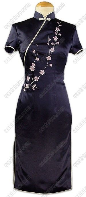 Chic Plum Blossom Embroidered Silk Dress