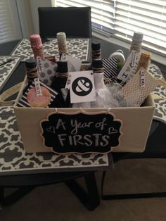 Wine basket for milestones of their Marriage! First night, first fight, first valentines, first New Years, first baby, first beach trip.