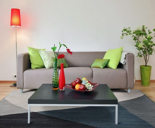 Modern Living Room with Apple Accents
