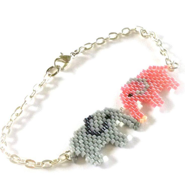 RESERVED Blue and Gray Elephant Bracelet, Seed Bead Jewelry - Elephant Kiss