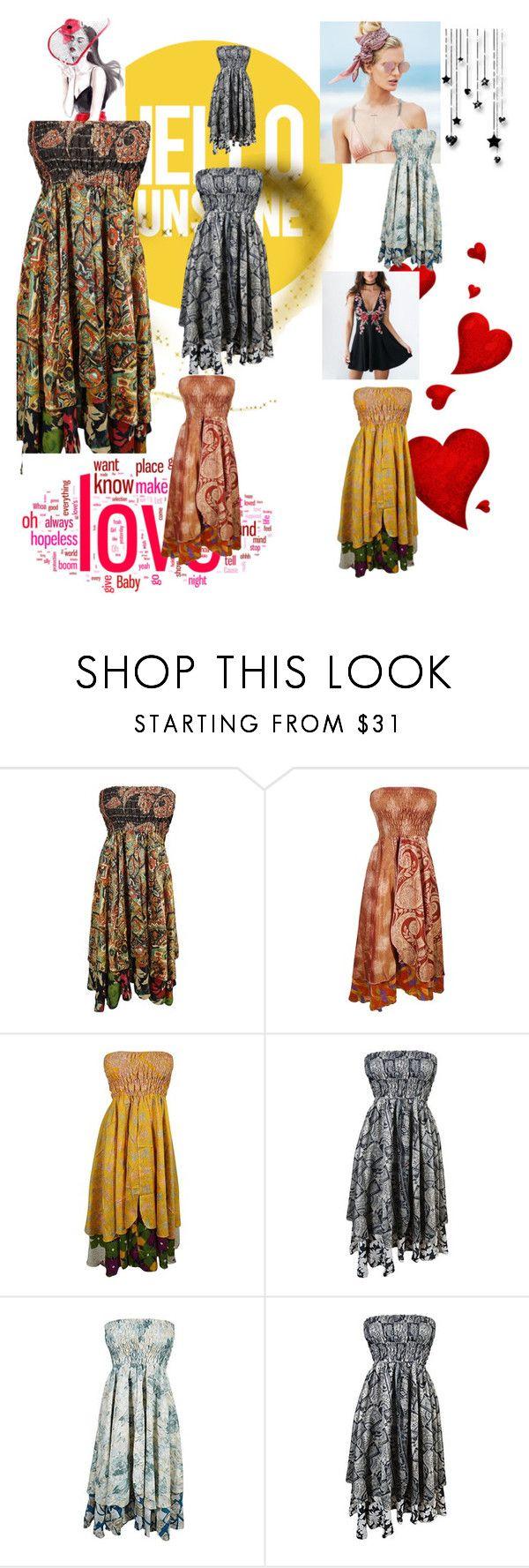"""Boho Sari Dress"" by tarini-tarini ❤ liked on Polyvore featuring Beach Riot and vintage"