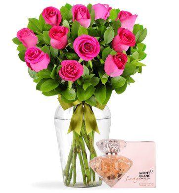 12 Rosas con Perfume Mont Blanc Lady Emblem