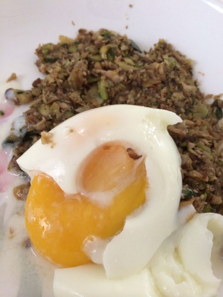 Soft Boiled Egg with Minced Shitake Mushrooms and Zucchini #cohenlifestyle