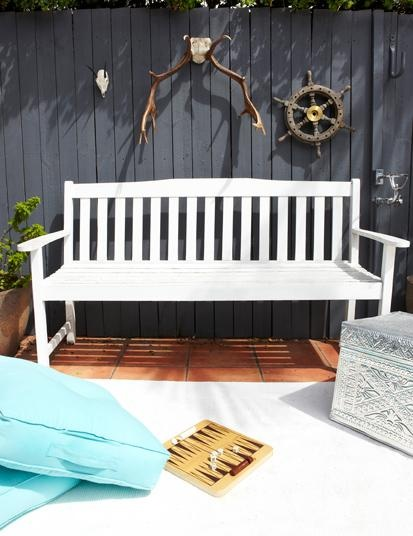 patio - I like the idea of a bench against the fence and hanging things from the fence