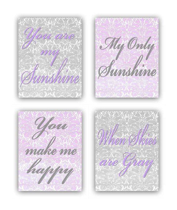 You are my Sunshine, Baby Girl Nursery, Damask Nursery Wall Art Purple Gray Set of 4 Prints, Kids Nursery Decor, Kids Baby Nursery Wall Art on Etsy, $54.00