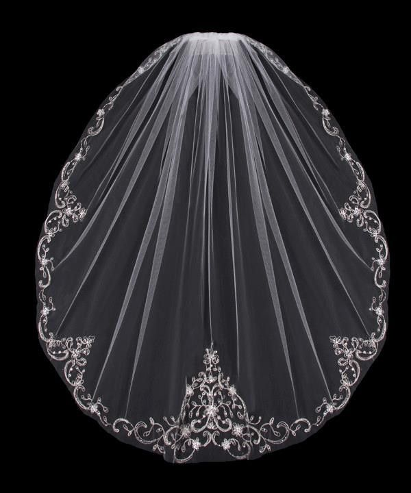 Mantilla Bridal Veil with Silver Embroidery Sequins and Rhinestones from Cassandra Lynne