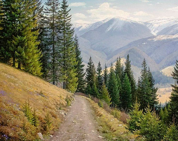 Summer Mountain Landscape Oil Painting Realism Oil Painting Large Canvas Art Original Large Painting Mountains Art Wall Art In 2020 Large Landscape Painting Landscape Paintings Landscape