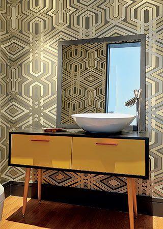 Retro Bathroom - repurposed table vanity, bold wallpaper