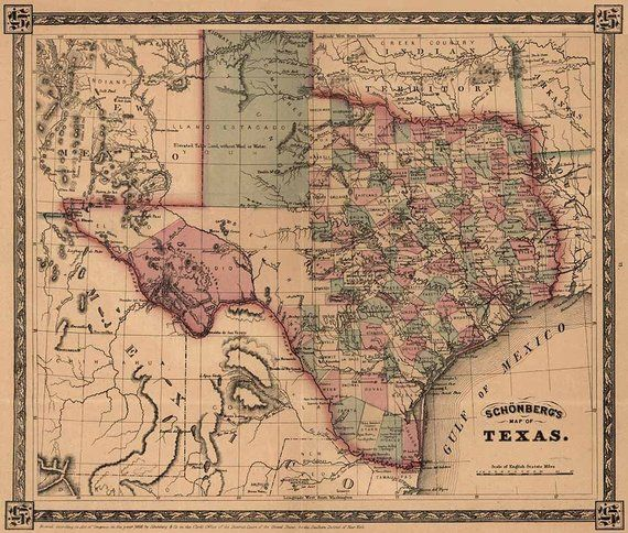 Texas Map Art Vintage Antique Map Of Texas Texas State Map