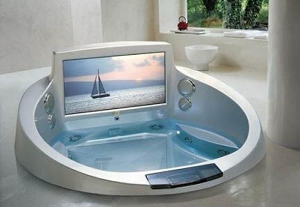 bathtubs: Idea, Modern Bathroom Design, Bath Tubs, Built In, Dreams House, Cool Bathtubs, Tvs, Hot Tubs, Jacuzzi Tubs