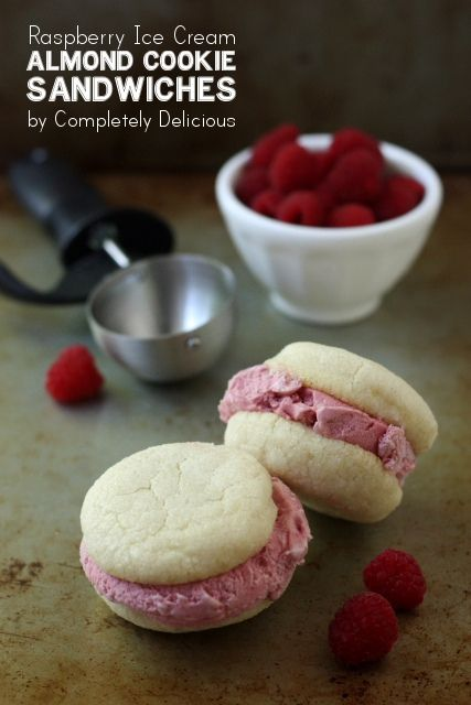 Raspberry Ice Cream Sandwiches and Almond Cookie Sandwiches.